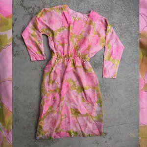 Vintage Pink Print Chiffon Dress